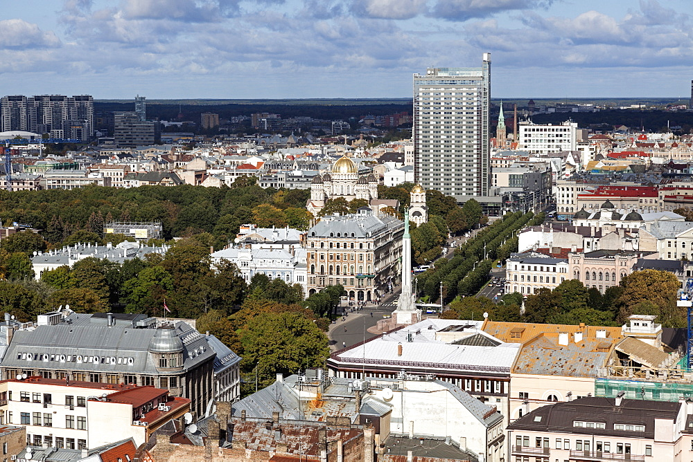 Cityscape with lone skyscraper, Latvia