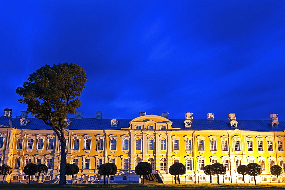 Illuminated facade against clear sky, Latvia