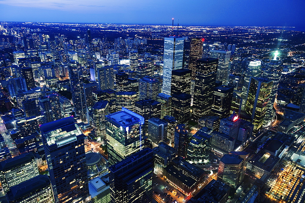 Cityscape with illuminated skyscrapers, Toronto, Canada