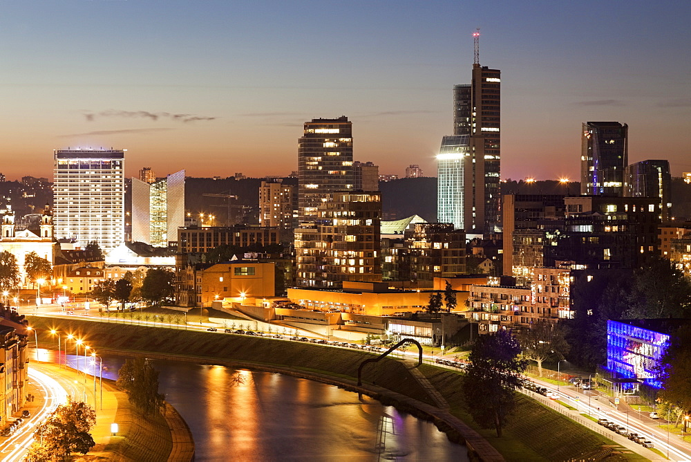 View of illuminated city at night, Lithuania