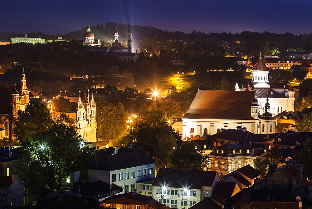 Illuminated cityscape, Lithuania