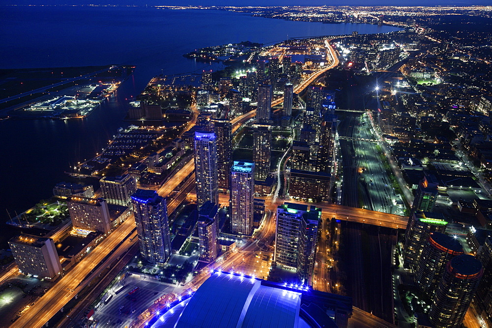 Elevated view of city at night, Toronto, Canada