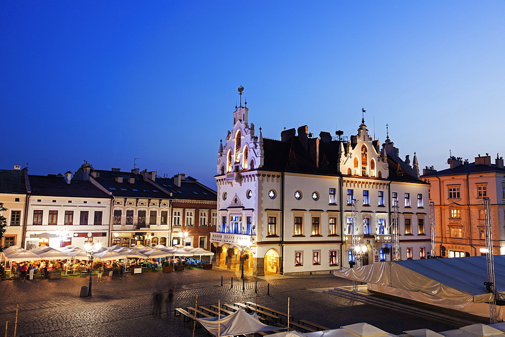 Town hall on main square at night, Poland