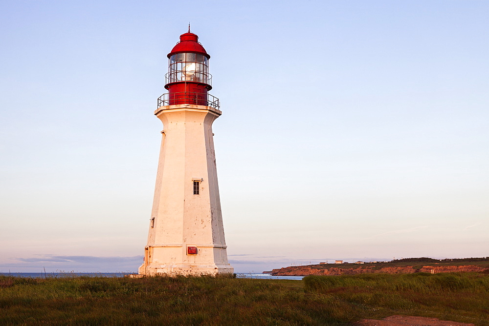 Lighthouse against clear sky, Nova Scotia, Canada