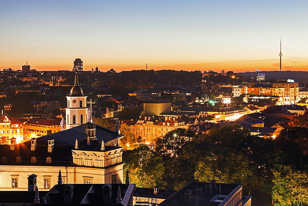 View of Cathedral Basilica of St Stanislaus and Vladislaus and old town, Lithuania