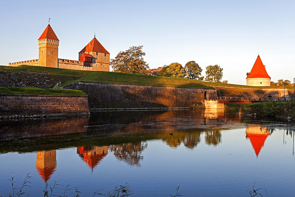 View of castle on island from river, Estonia