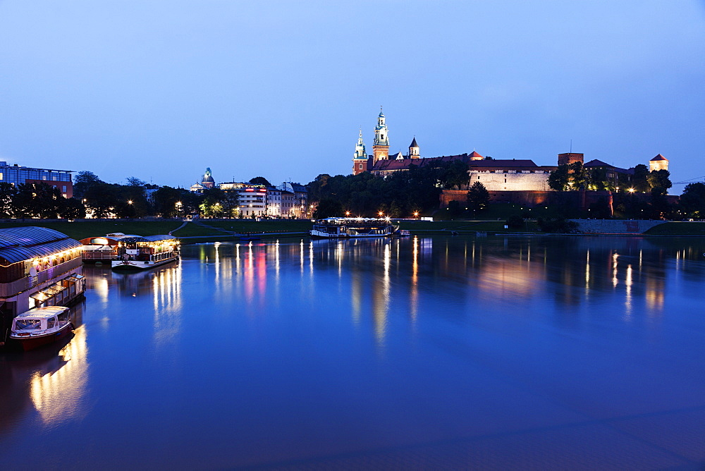 Wawel Royal Castle and Vistula River evening time, Poland