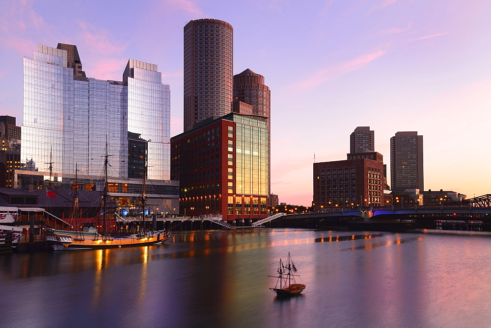 Waterfront at dawn, Boston, Massachusetts
