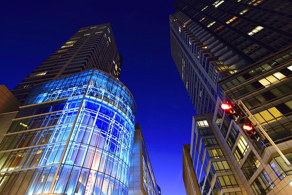 Office buildings at night, Boston, Massachusetts
