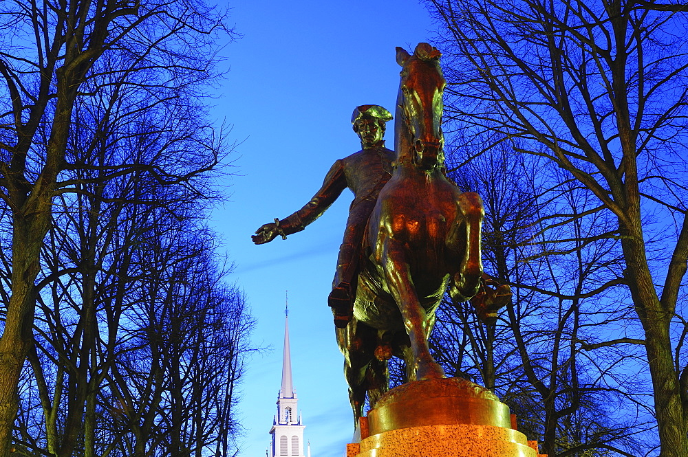 Statue of Paul Revere at dusk, Boston, Massachusetts