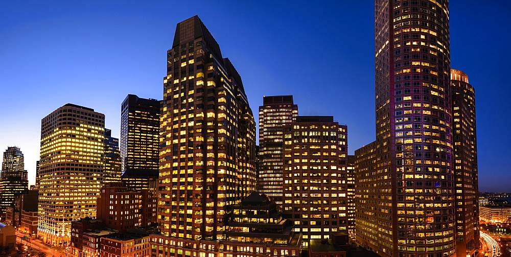 Boston Financial District at dusk, Boston, Massachusetts