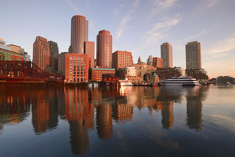 Waterfront from Fan pier at dawn, Boston, Massachusetts