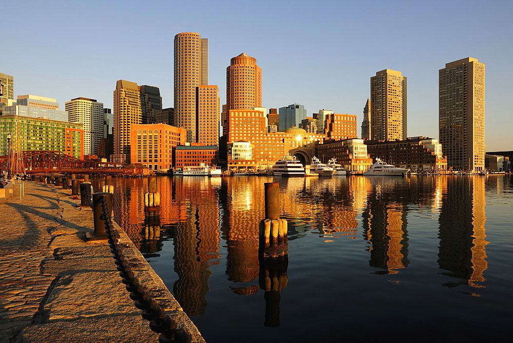 Waterfront from Fan pier in early morning light, Boston, Massachusetts