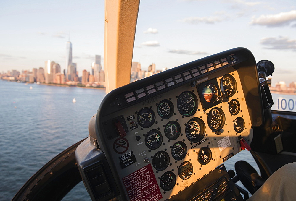 Cockpit in helicopter and Manhattan skyline, New York, New York