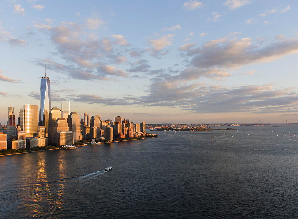 Manhattan skyline at sunset, New York, New York