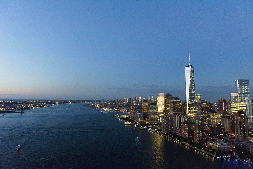 Aerial view of Manhattan and One World Trade Center, New York, New York,
