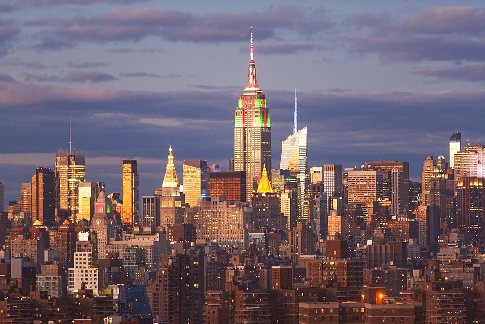 Cityscape at sunset, New York City, New York