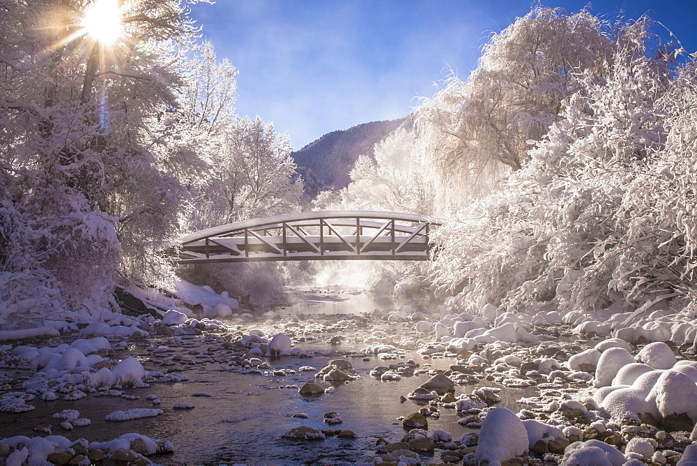 Scenic view of stream in winter, Colorado - 1178-24519