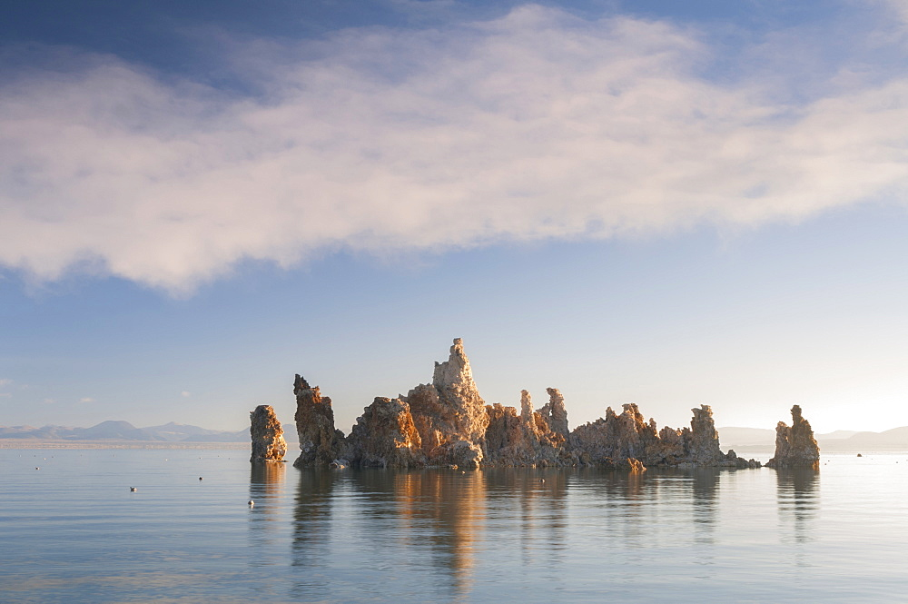 Rock formation in lake, Mono Lake, California