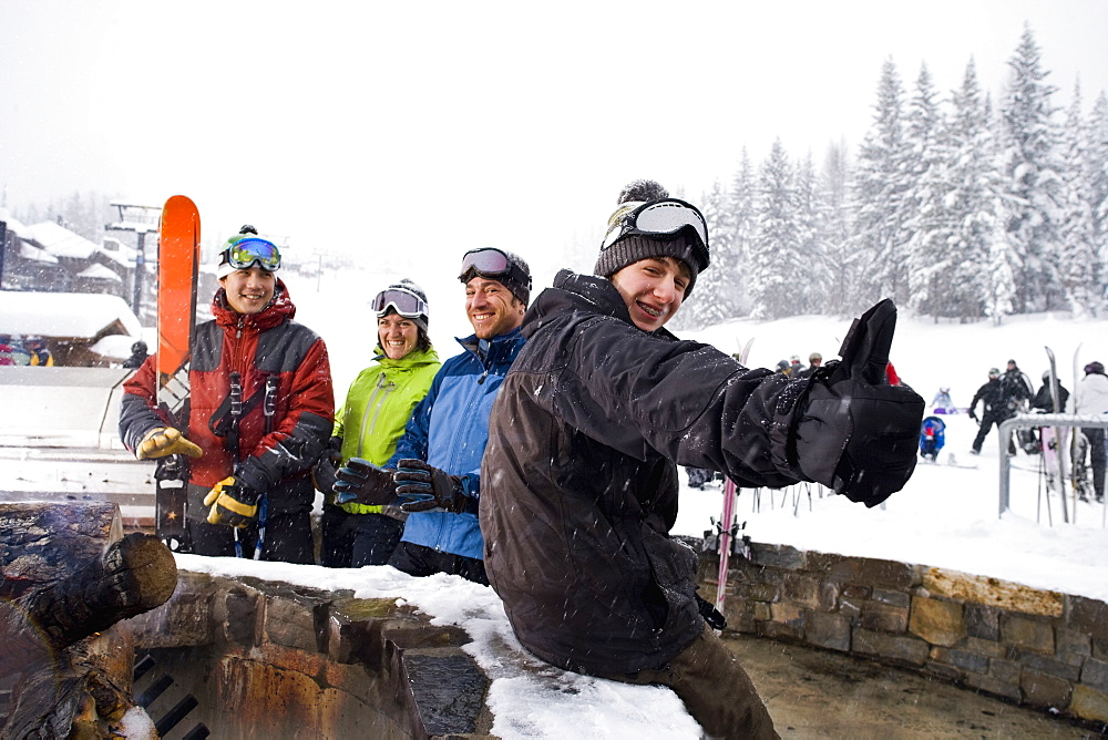 Group of skiers having break, Whitefish, Montana, USA