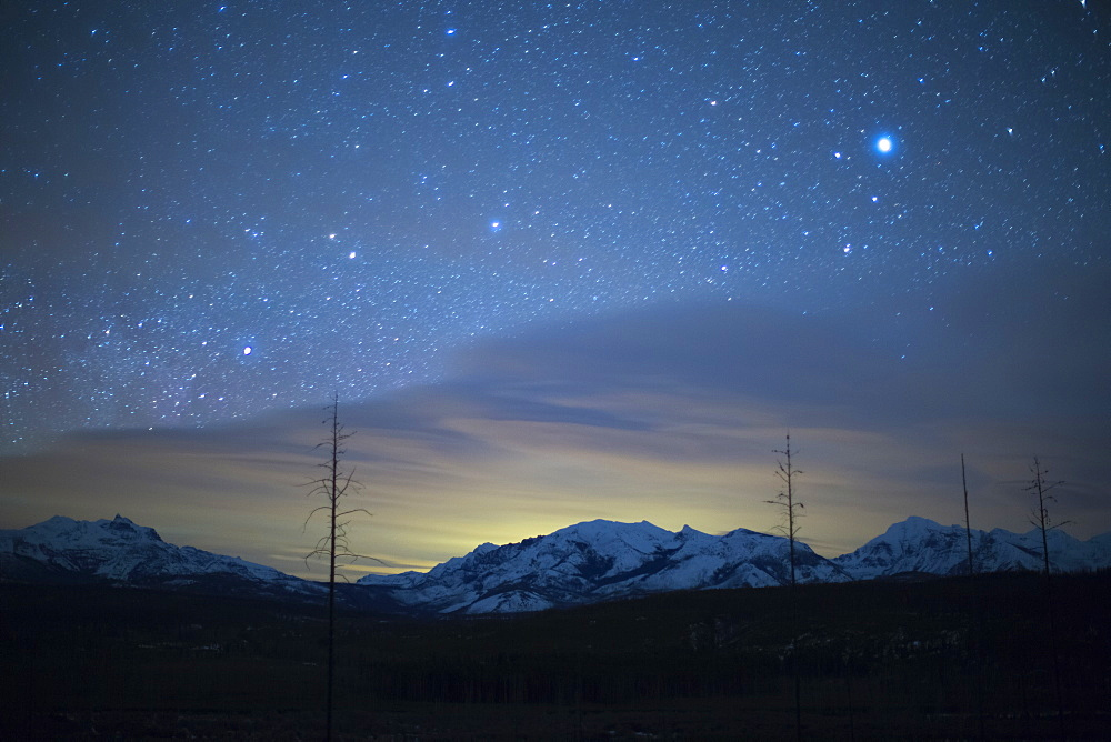 Scenic view of night sky with aurora borealis, Montana, Glacier National Park