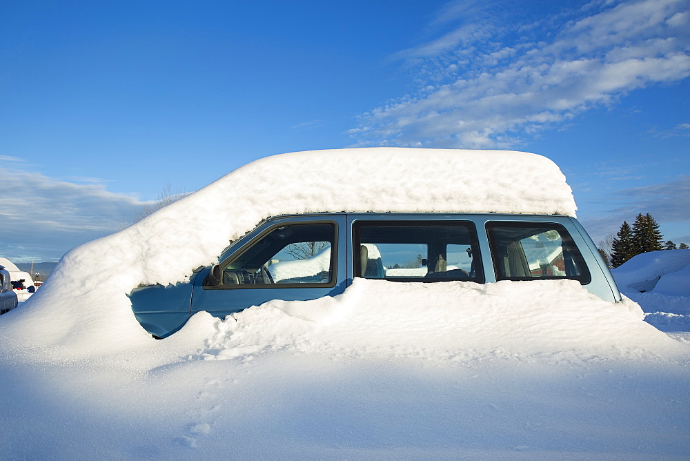 View of snowcapped car, Whitefish, Montana, USA - 1178-24606