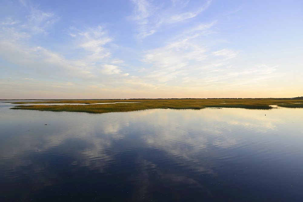 Sky reflecting in still bay, Provincetown, Cape Cod, Massachusetts