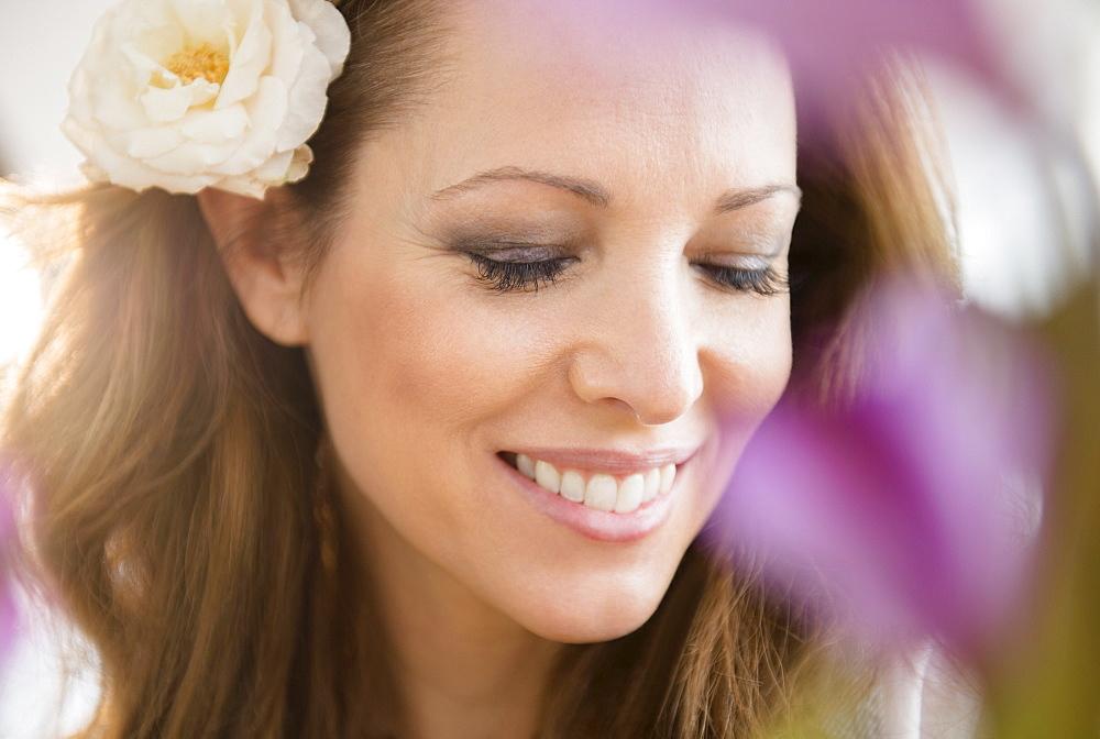 Woman wearing flower