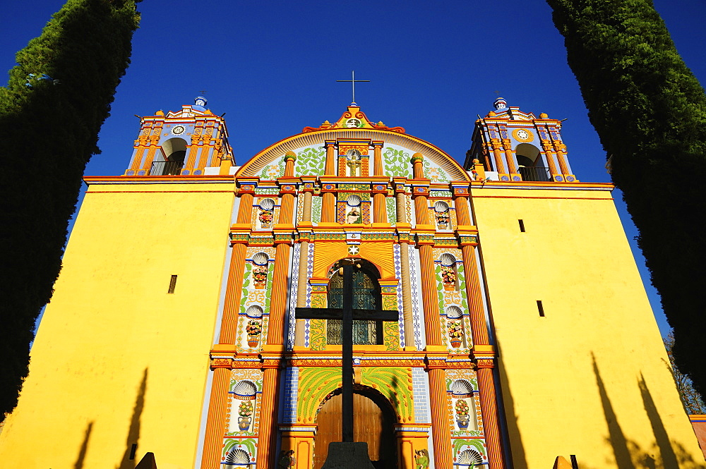 Low angle view of yellow ornate church, Santa Ana Zegache, Oaxaca, Mexico - 1178-24667