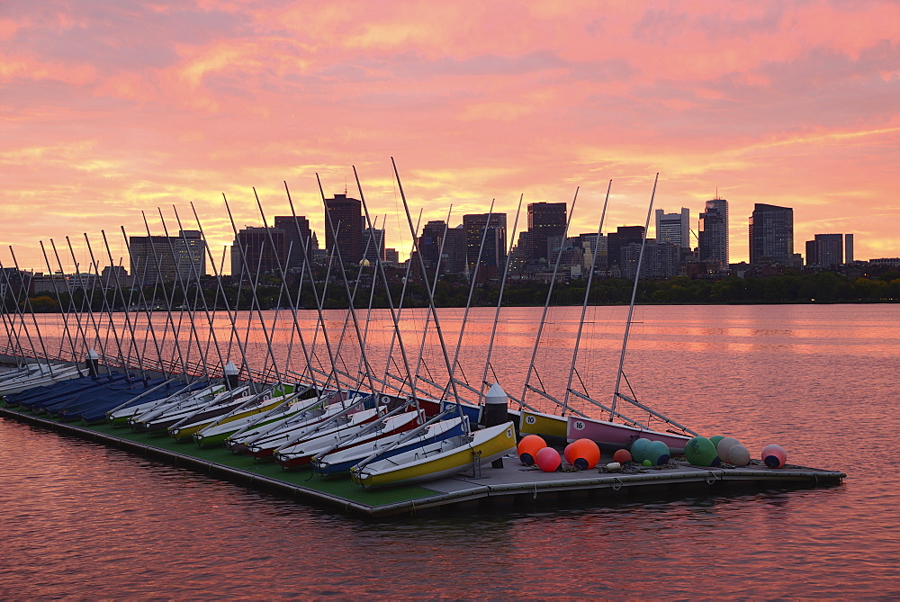 Sailboats on dock Charles River Boston at dawn, Charles River, Boston, Massashusetts,USA