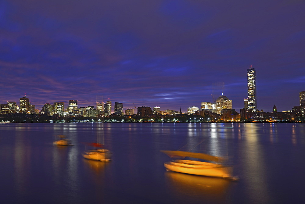 Boats on Charles River at dawn, Charles River, Boston, Massashusetts,USA