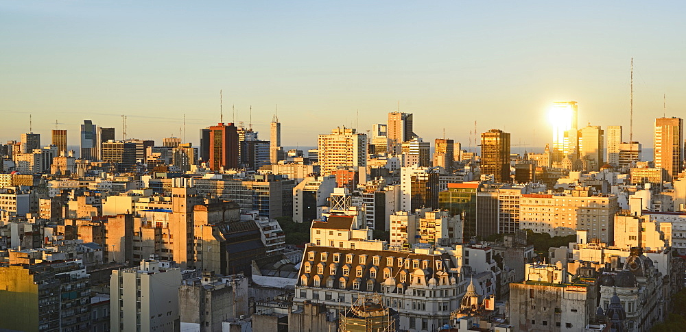 Panoramic view of cityscape at dusk, Buenos Aires, Argentina