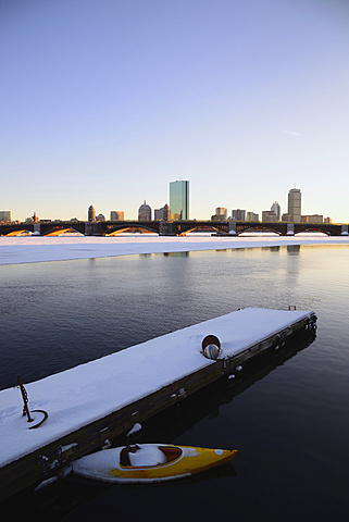 View across partially frozen Charles river to Longfellow Bridge and Boston, Charles River, Boston, Massachusetts,USA