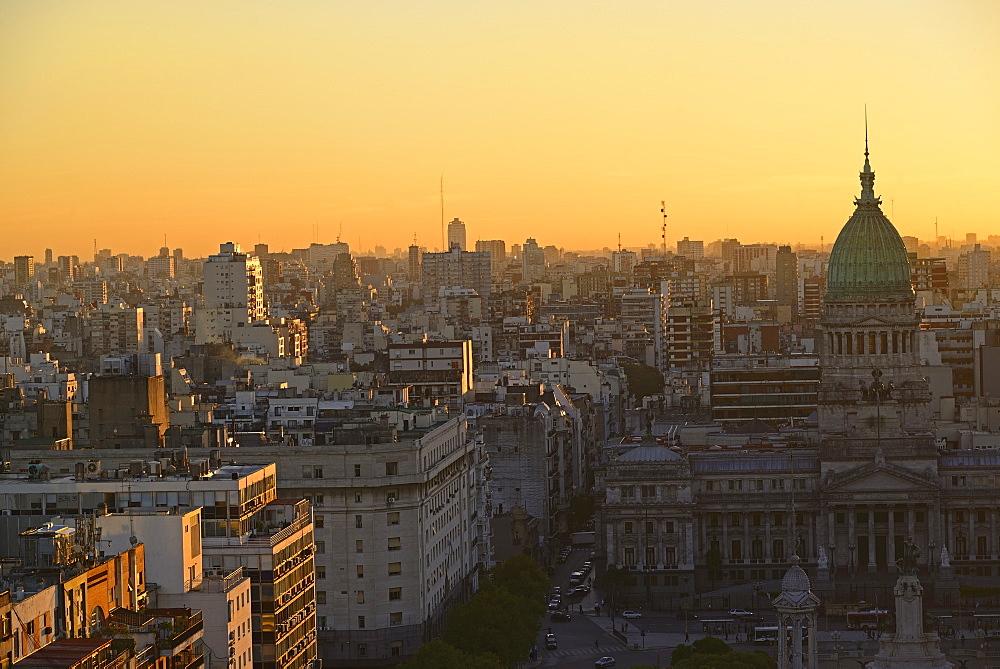 National Congress Palace and Balvanera barrio at dusk, National Congress Palace, Buenos Aires, Argentina