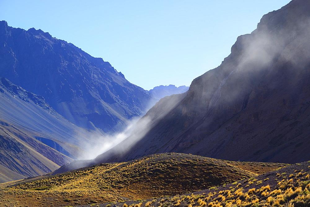 Landscape with mountain range and valley, Windy Parque Nacional Aconcagua, Mendoza, Argentina