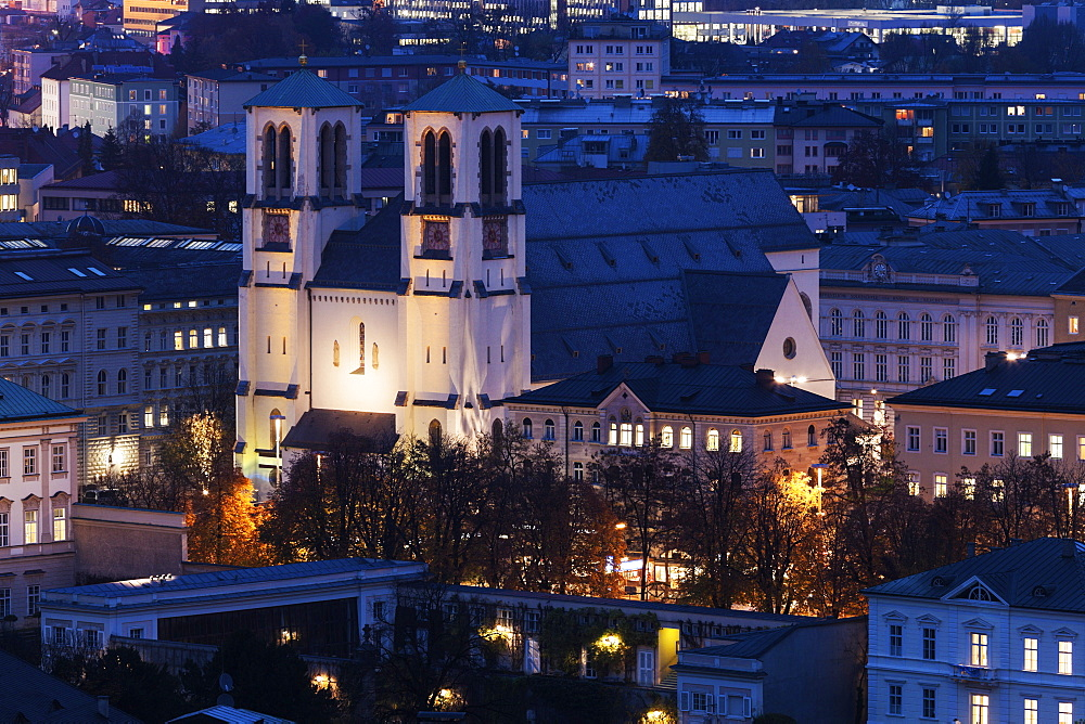 Illuminated St. Andrew's Church and surrounding cityscape , St. Andrew's Church,Salzburg, Austria