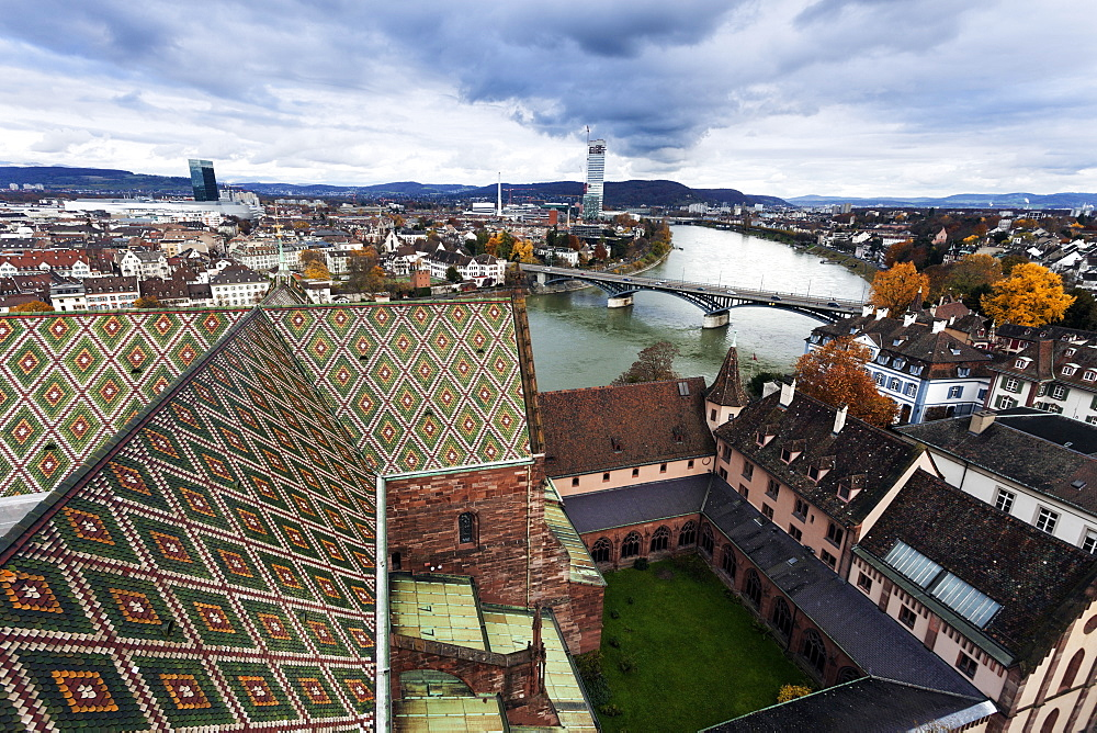 Roof of Basel Minster and Rhine River, Basel Minster and Rhine RiveerBasel, Basel-Stadt, Switzerland