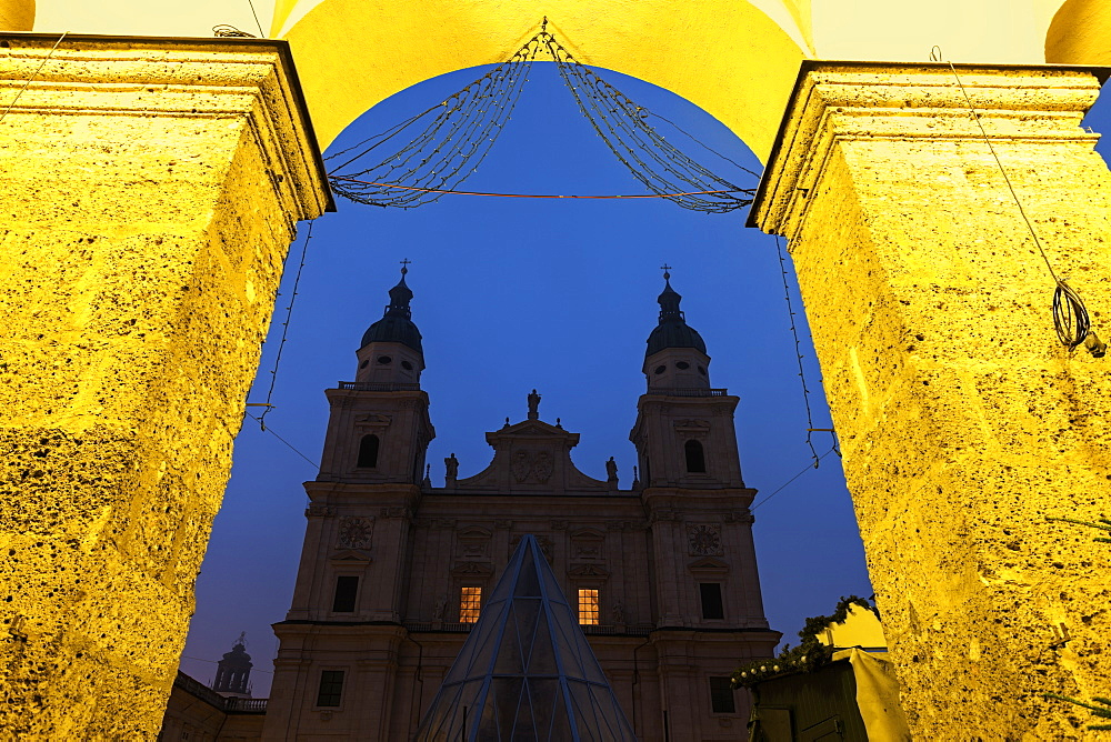 Salzburg Cathedral and arch against night sky, Salzburg Cathedral,Salzburg, Austria