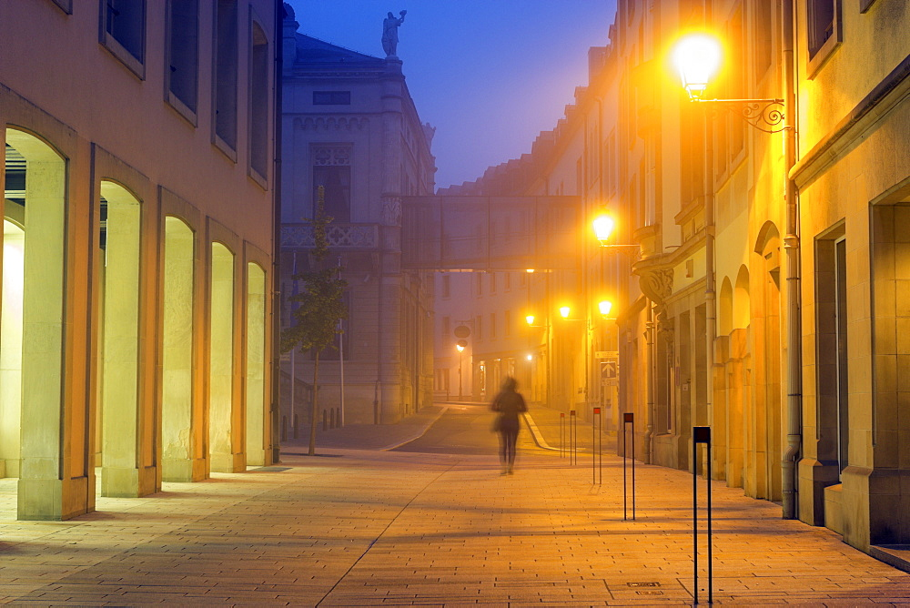 Street scene at night, Luxembourg City, Luxembourg