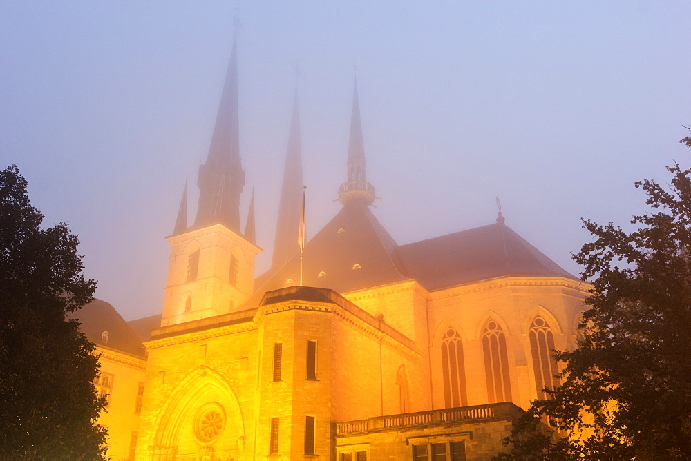 View of Notre Dame Cathedral in fog, Notre Dame Cathedral, Luxembourg City, Luxembourg