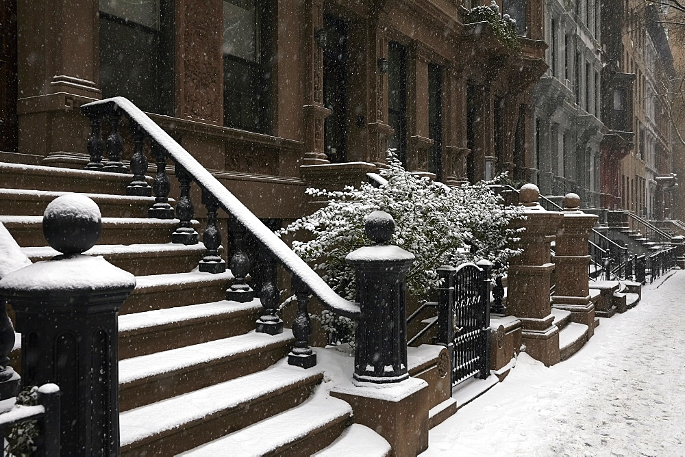 Row houses in winter, New York City, New York,USA
