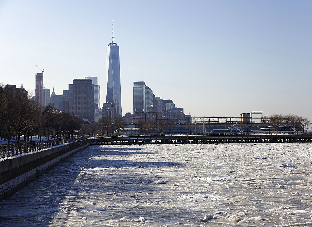 View of Freedom Tower from promenade, New York City, New York,USA