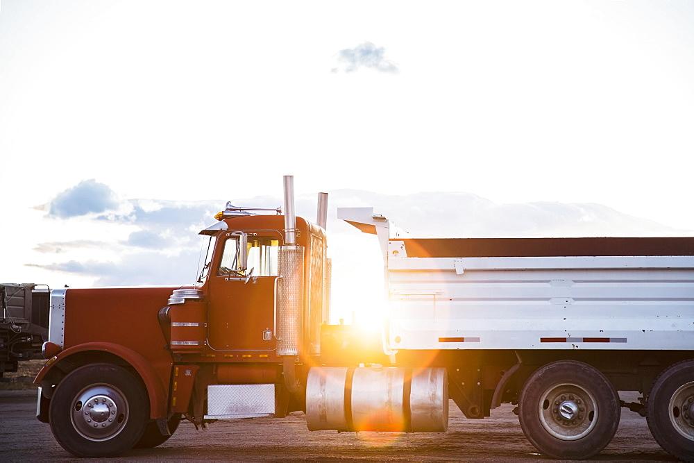 Red semi-truck on road, Colorado, USA
