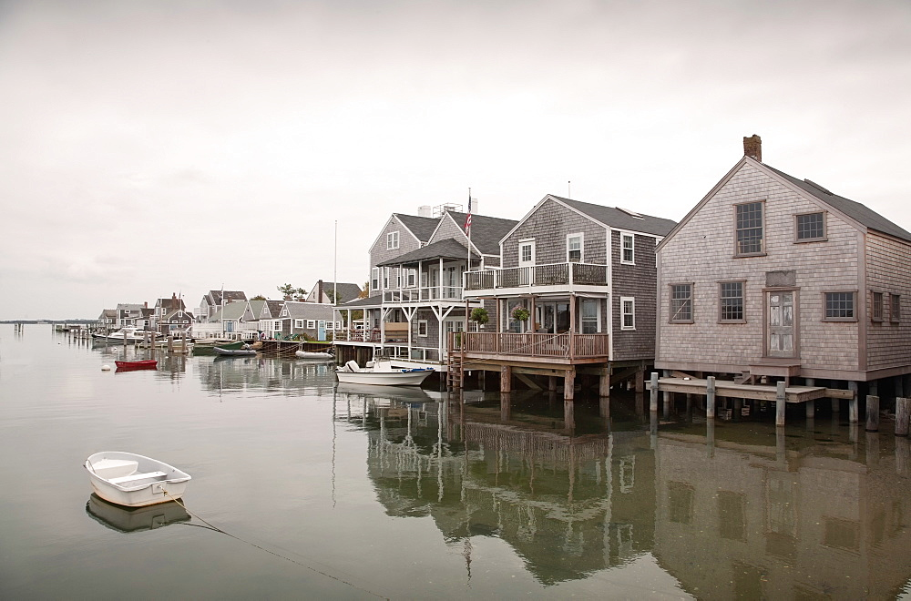 Boats and stilt houses, Old North Wharf, Nantucket, Massachusetts,USA