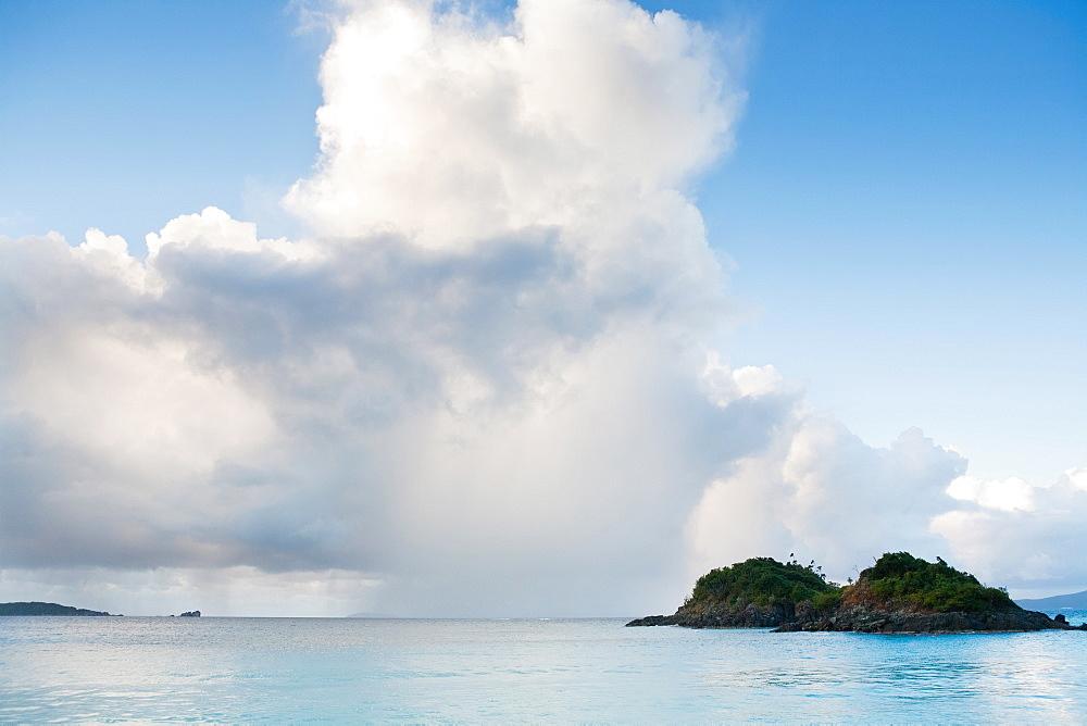 Scenic view of island on sea, Trunk Bay, St. John, US Virgin Islands