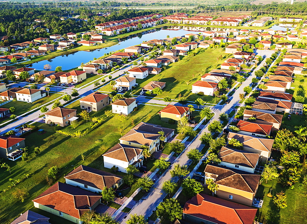 Aerial view of suburbs, Stuart, Florida,USA