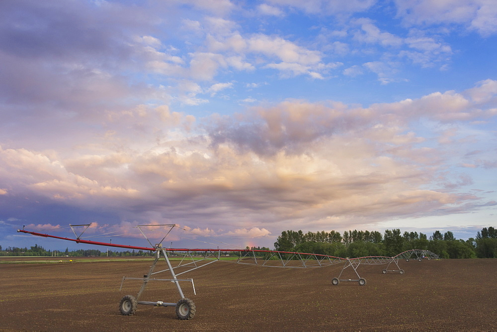 Irrigation equipment in field, USA, Oregon, Marion County