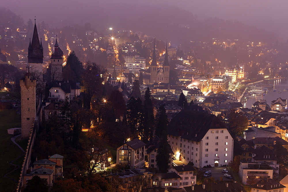 Medieval towers in old town, Switzerland, Lucerne, City Wall towers