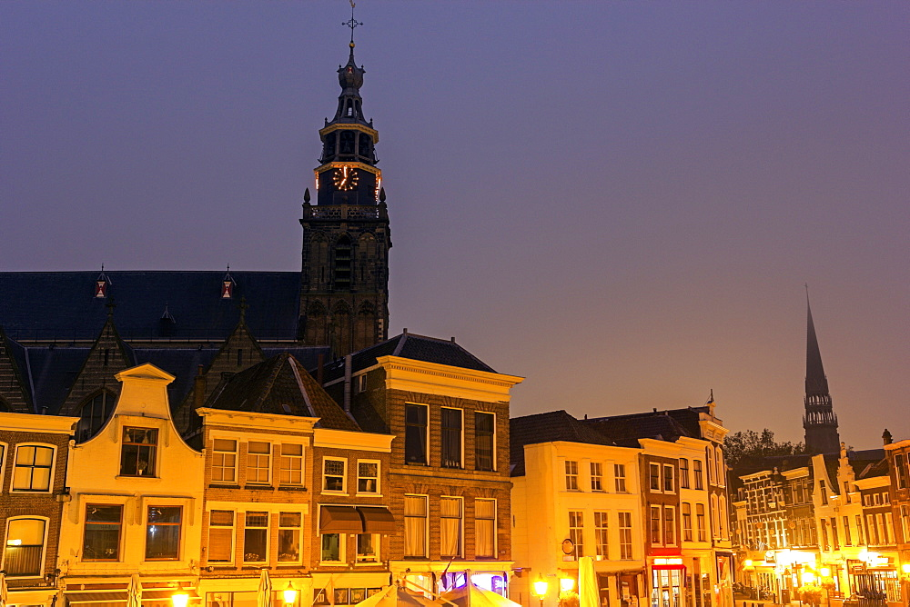 Market square and Sint Janskerk church, Netherlands, South Holland, Gouda, Market Square, gothic, Saint Janskerk church
