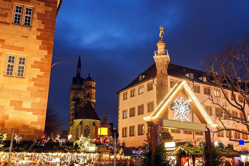 Christmas market at night, Germany, Baden-Wurttemberg, Stuttgart,